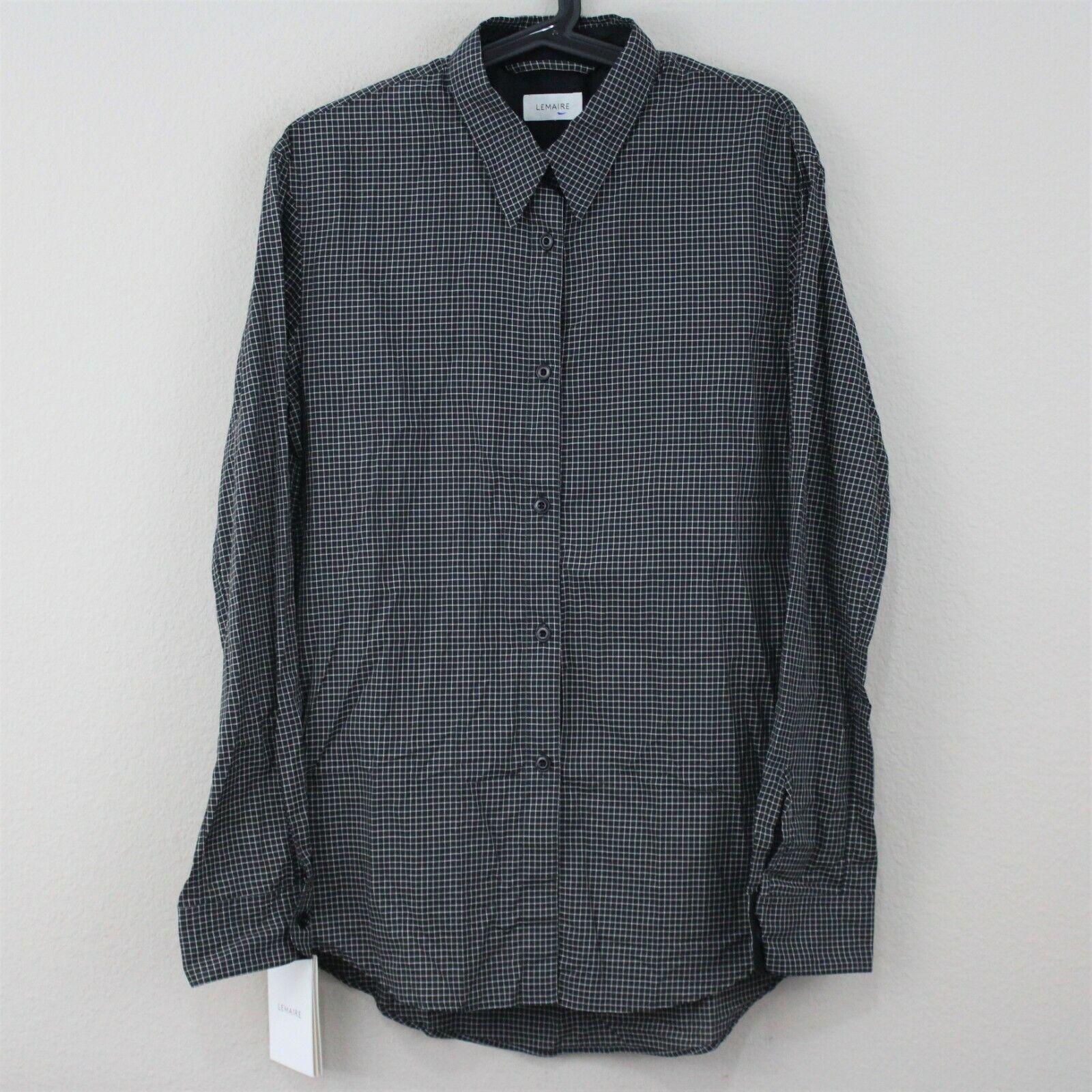Lemaire para mujer 38 señaló botón  de camisa azulsa de comprobación de cuello nuevo con etiquetas M317  sin mínimo