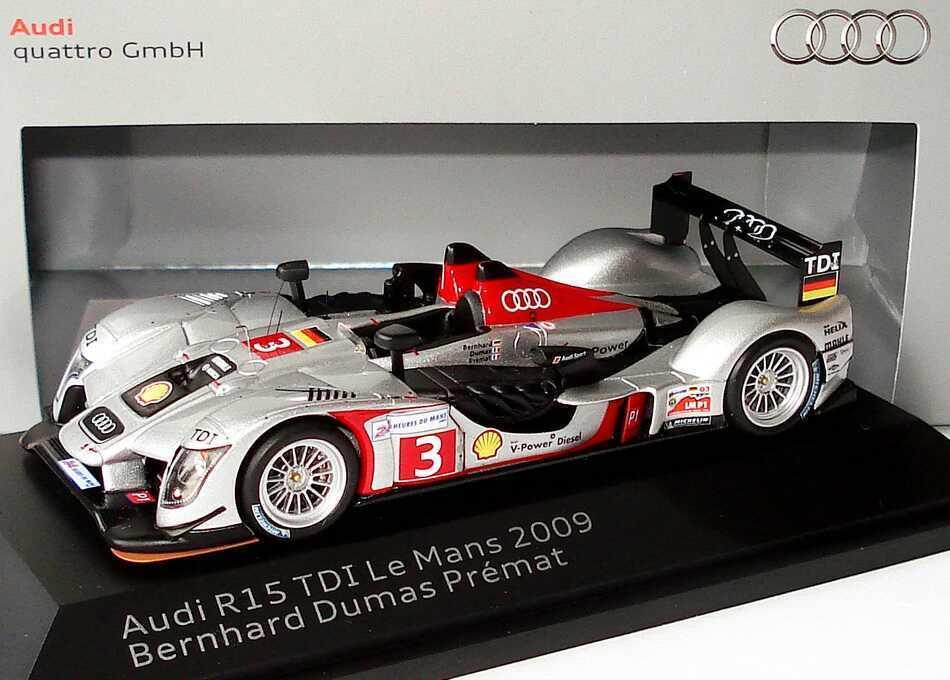 1 43 Audi r15 TDI Le Mans 2009 Nº 3 Bernhard Dumas Premat-Dealer-Edition-OEM