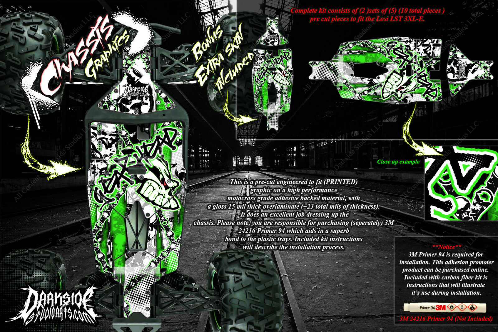 LOSI LST 3XL-E 'GEAR HEAD' CHASSIS WRAP DECALS HOP UP FITS SKID PLATE PARTS GRN
