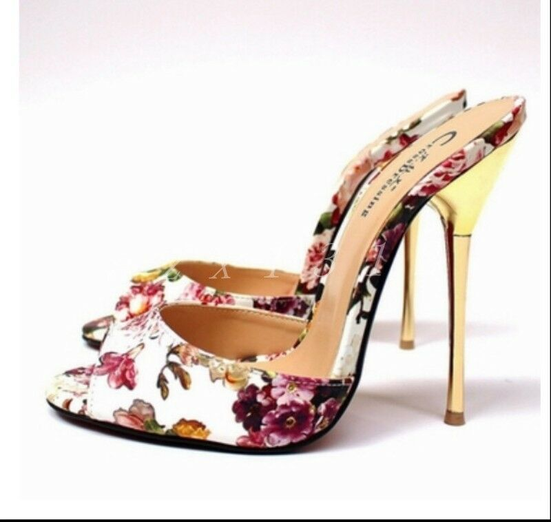 Da Donna in Pelle a Punta Infilare Punta Aperta Sandali Pantofola   Da Sposa il design elegante