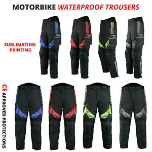 New-Waterproof-CE-Armoured-Motorcycle-Motorbike-Trousers-Textile-Cordura-Pants