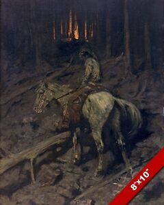 APACHE INDIAN & HORSE FIRE SIGNAL US HISTORY OIL PAINTING