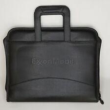 Exxon Mobil Zipper Portfolio Drop Carry Handles Black Leather 3 Ring Binder