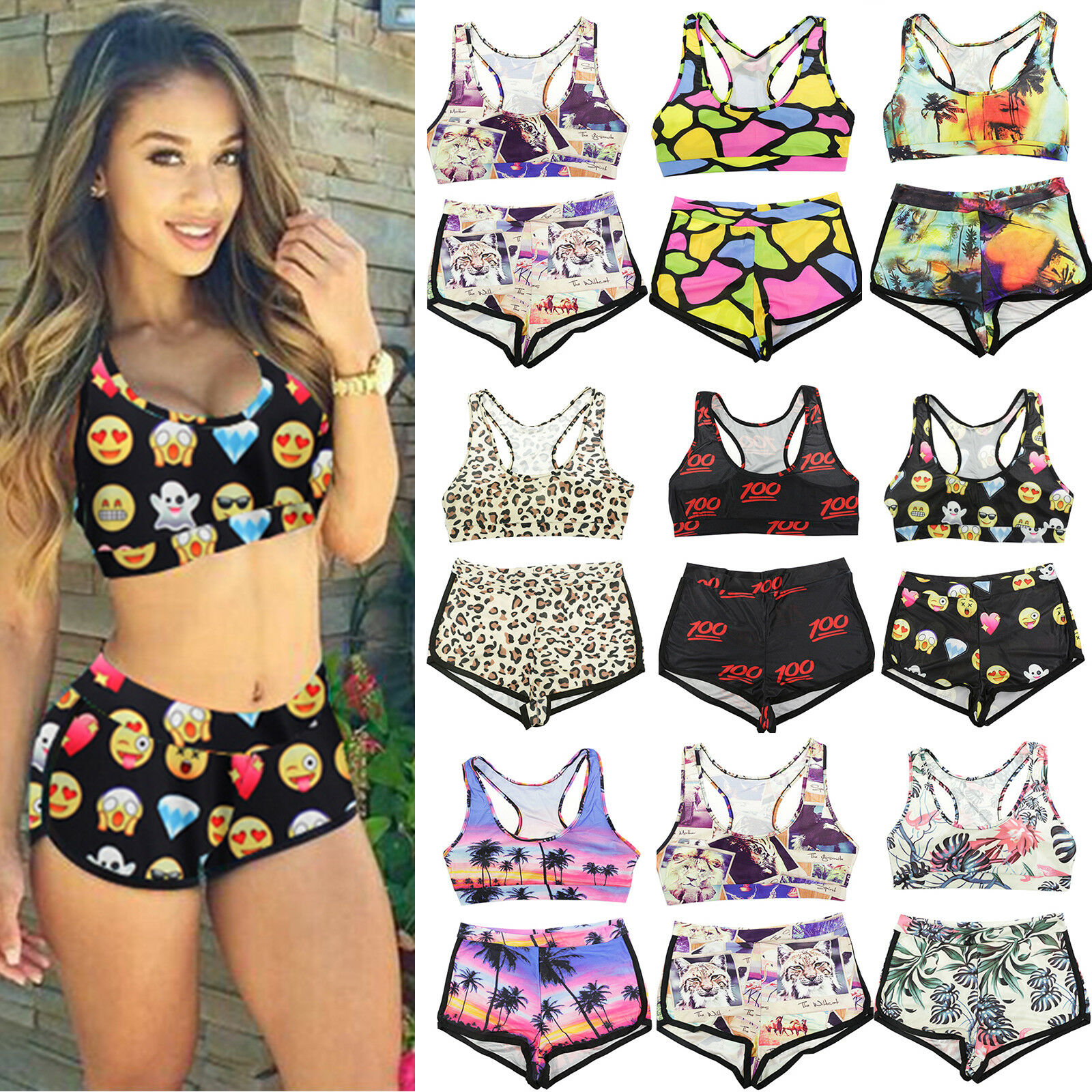 Damen Bikini Set Bademode hohe Taille Badeanzug Tops shorts Beachwear Swimwear