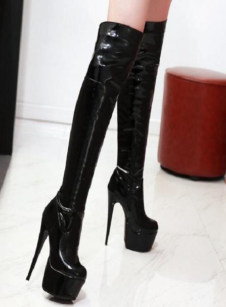 Women Sexy Platform Stilettos Over Knee Boots Platform High Heel shoes Plus Size