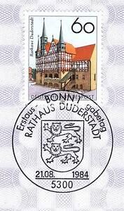 BRD-1984-Rathaus-Duderstadt-Nummer-1222-mit-Bonner-Ersttagssonderstempel-1A