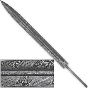 premium damascus steel medieval fuller sword blank blade 1095 high
