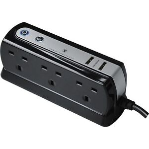 Masterplug-6-Socket-Surge-Protected-Extension-Lead-amp-USB-Chargers-Black-1M-Cable