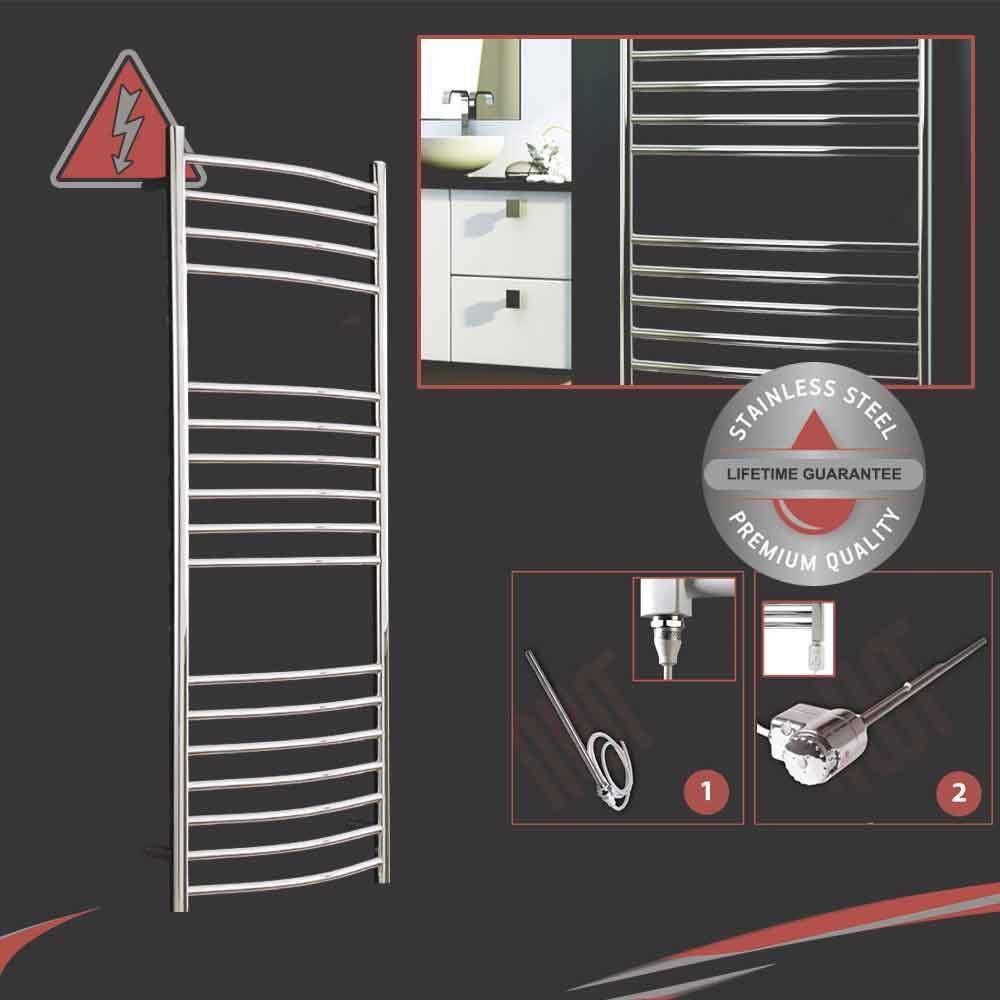 500mm (w) x 1200mm (h) electric 300W incurvé acier inoxydable porte-serviettes pré-remplie