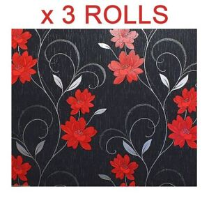 Details About Black Grey Red Flower Wallpaper Glitter Effect Floral Textured Metallic X 3