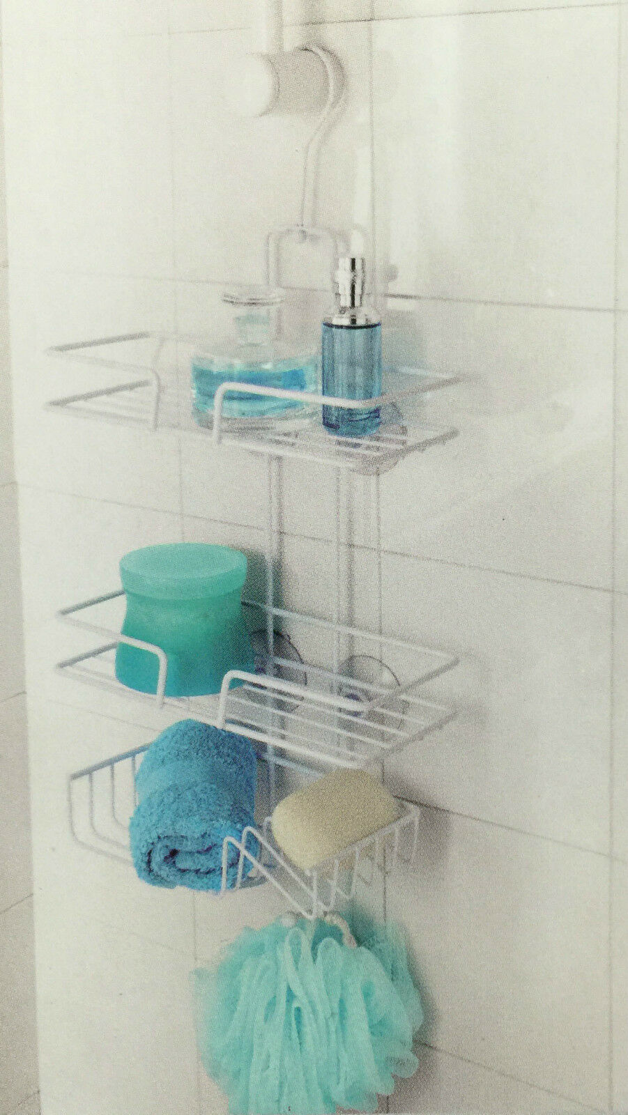 3 Tier Hanging Organiser Rustproof White Shower Tidy Storage Basket ...