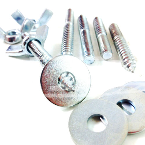 WOOD TO METAL DOWELS M6 x 80mm WASHERS FURNITURE FIXING SCREWS BZP WING NUT