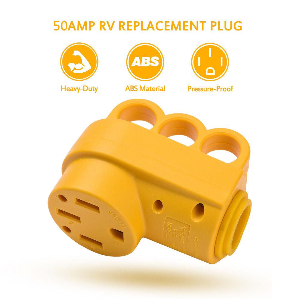 X-Haibei RV 50 amp Power Inlet Plug 125V 250V AC Female Twist Locking Connector White wIith Rain Proof Boot Kit