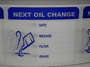 50 Next Oil Change Reminder Stickers Labels Clear Film