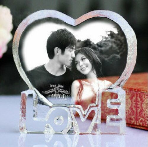 Personalized Custom Laser Etched Engraved Crystal Glass Photo Heart Paperweight