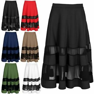 4f4b3273b7d Image is loading Womens-Black-Mesh-Insert-Contrast-Skater-Skirt-Ladies-