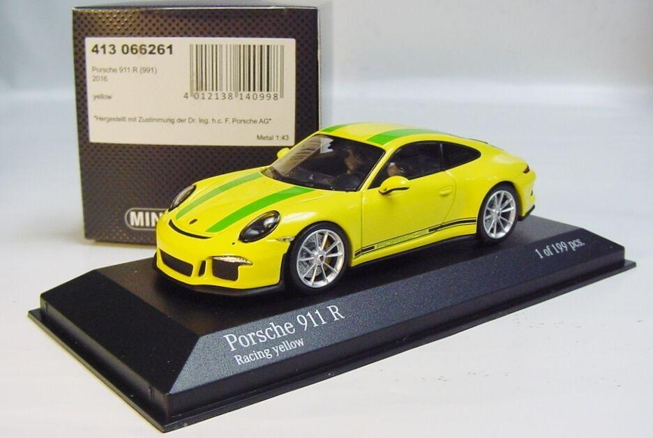 1 43 Minichamps Porsche 2016 911R 991 II  presque réel  Racing Jaune Limited Edition 199