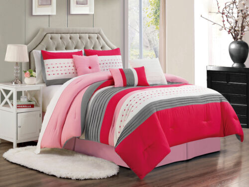 11P Jasper Pleated Stripe Square Comforter Curtain Set Hot Pink Ivory Gray Queen