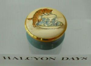 """Halcyon Days """"You're The Cat's Whiskers"""" Screw-Top Enamel Box - <1 1/4""""(>3cms)"""