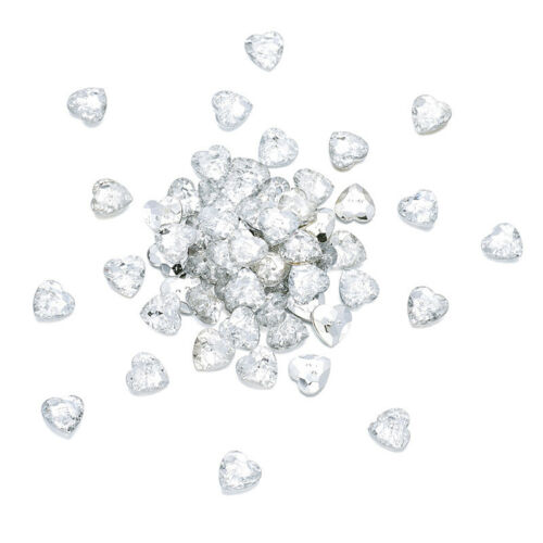 100 x Faceted Acrylic Sewing Rhinestone Buttons Heart Crystal 13x13x4mm Hole 1mm