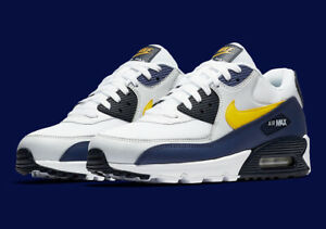 Details about Nike Air Max 90 Essential Michigan White Yellow Blue Sizes 8 13 AJ1285 101 NEW