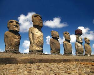 Moai-EASTER-ISLAND-STATUES-Glossy-8x10-Photo-Print-Wall-Art-Poster-Monolithic