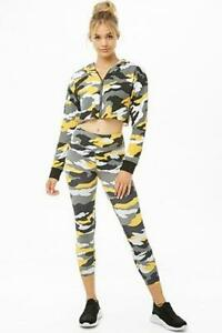 Forever-21-Overrun-High-Waist-Yellow-Camouflage-Leggings-in-Small