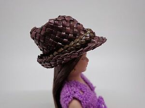 1-12-Scale-Woven-Straw-Brown-Hat-Doll-House-Miniature-Accessory