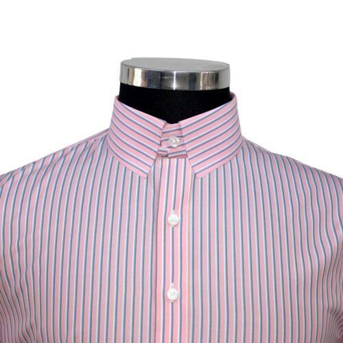 Rosa Cotone Collare Colletto Gessato Camicia Blu Bond Anello Bianco Uomo James nCqtHwgxB