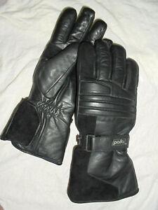 Polo-Motorrad-Biker-Thermo-Handschuhe-Gloves-Leder-Schwarz-Gr-S