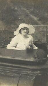 West-Virginia-Woman-Bonnet-in-Open-Top-Antique-Car-Appalachia-Antique-Photo
