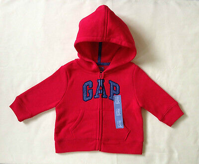 NWT BABY GAP BOY'S RED ARCH LOGO HOODIE 77% COTTON 23% POLYESTER, FALL, WINTER