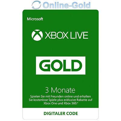 Xbox Live 3 Monate Gold Mitgliedschaft Code - 3 Month Microsoft Xbox 360 One Key