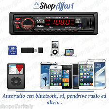 STEREO AUTO AUTORADIO bluetooth MP3 MP4 SD USB AUX 45WX4 FRONTALINO fisso