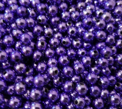 1,000 pcs Metallic Violet Purple Artificial Plastic Pearls 6mm Round Craft Beads