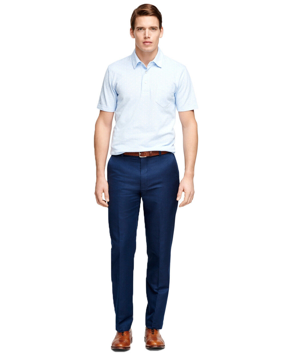 Brooks Bredhers Mens Clark Garment-Dyed Cotton Pant, bluee (32 34) 5319-4