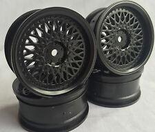 Rc Car 1/10 Drift FM Spoke Rim Wheel 3mm Offset fit Tamiya HPI 12mm hex BLACK 4