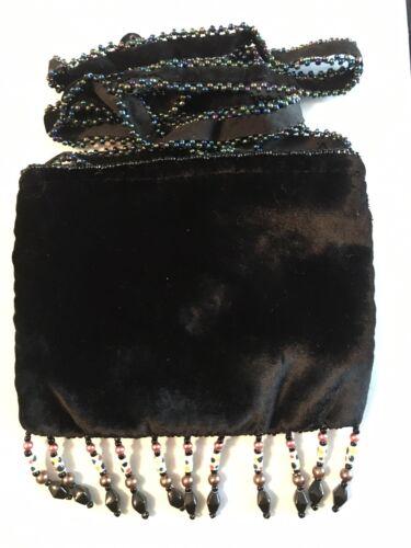 Velvet Mini Crossbody With Beads And Stones In Black