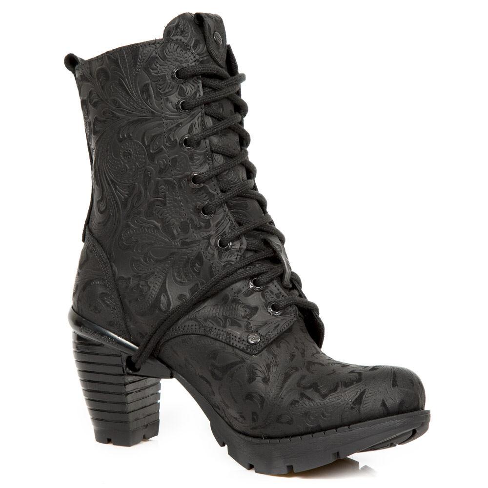 Envío 100% gratuito New Rock Rock Rock M.TR001X-S2 todos los de cuero Floral Negro botas al tobillo Damas Wild Trail  solo cómpralo