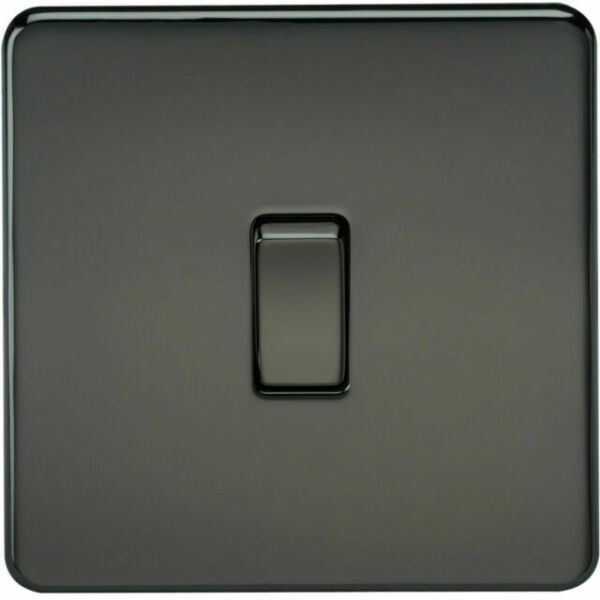 Free Post 1 x SF2000BN-Knightsbridge Screwless 10A 1G 2 Way Switch-Black Nickel
