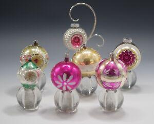 VTG-LOT-OF-7-SHINY-BRITE-MERCURY-GLASS-CHRISTMAS-ORNAMENTS-REFLECTORS-BALLS