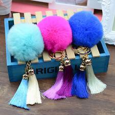 Fashion Women Tassel Rex Rabbit Fur Ball PomPom Car Keychain Handbag Key Ring