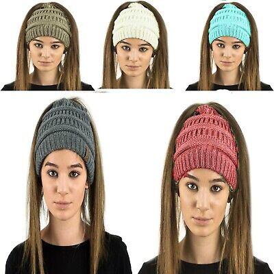 LADIES WOMENS SOFT PLAIN COLOUR PONYTAIL MESSY BUN RIBBED WINTER BEANIE HAT CAP