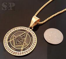 "Gold Stainless Steel Freemason Masonic CZ Pendant & 24"" Round Box Chain Necklace"