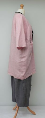 """LAGENLOOK LINEN OVERSIZED BATWING LONG TUNIC//DRESS**PALE PINK**Bust Up To 52/"""""""