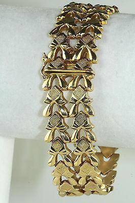 VINTAGE 1940's ITALIAN ITALY 18K GOLD WIDE 8 INCH BRACELET
