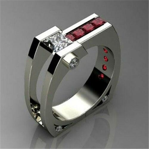 Chic femmes Ruby White Topaz 925 Silver Anneau de Mariage Cadeau Bijoux Fête Taille 6-10