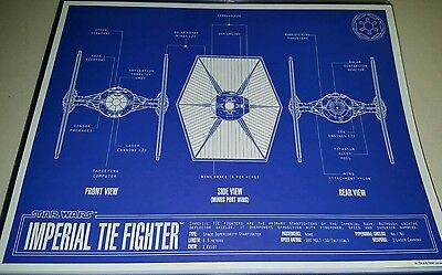 Star Wars Imperial Tie Fighter Blueprint 11x14 w/Top Loader