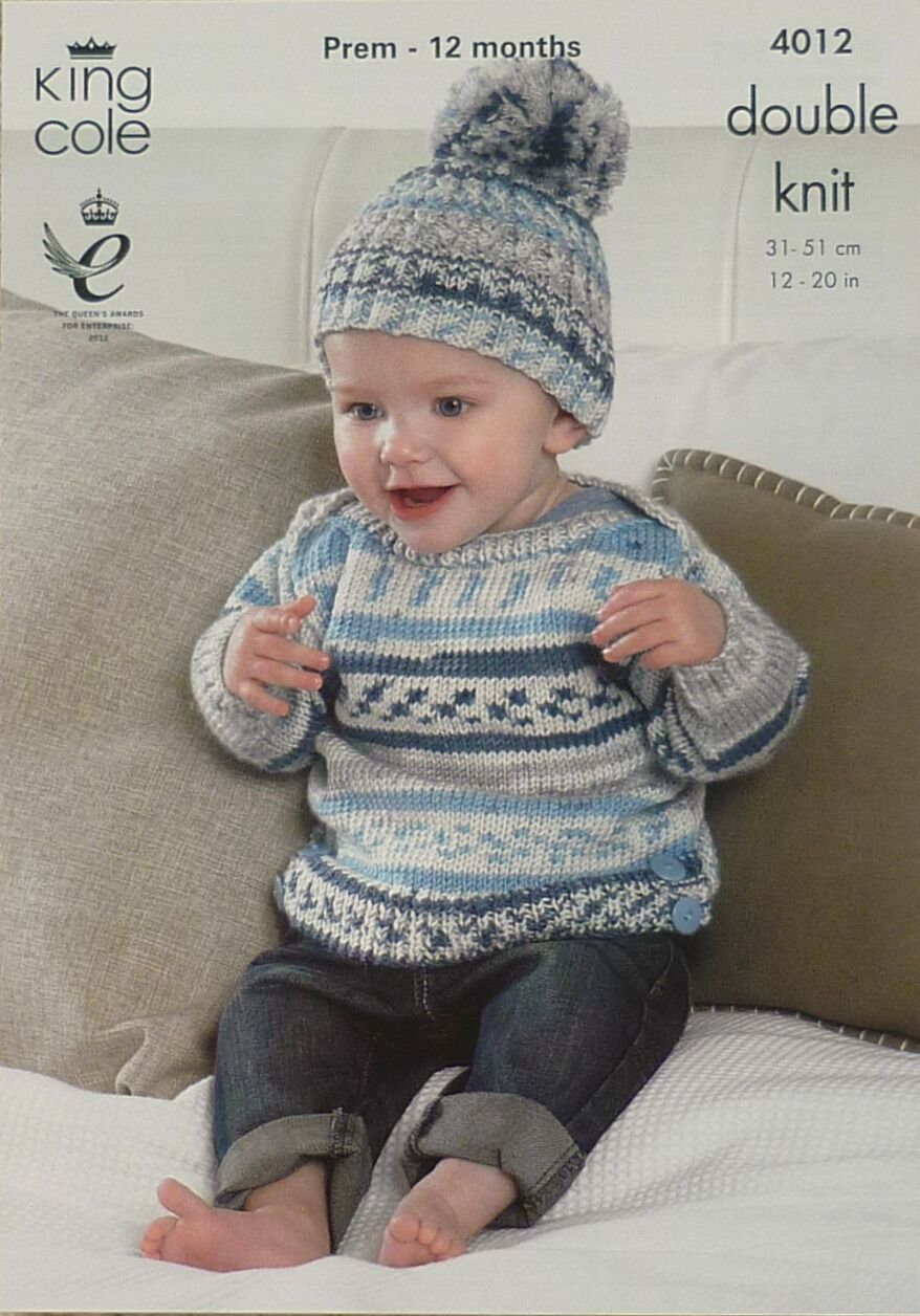 12b12a499fe3 Knitting Pattern Baby Long Sleeve Jumper and Bobble Hat DK King Cole ...
