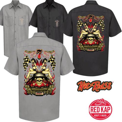 Hot Rat Rod 58 Lucky 7 Garage Mécanicien Chemise Travail Course Tatouage Rockabilly Voiture 140